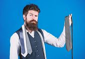 Matching His Clothing Style. Businessman In Classic Style. Bearded Man Choosing The Right Necktie Fo poster