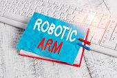 Word Writing Text Robotic Arm. Business Concept For Programmable Mechanical Arm With Similar Functio poster