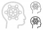 Mesh Human Brain Model With Triangle Mosaic Icon. Wire Carcass Polygonal Mesh Of Human Brain. Vector poster