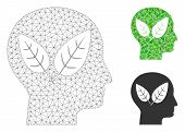 Mesh Vegan Head Model With Triangle Mosaic Icon. Wire Carcass Polygonal Mesh Of Vegan Head. Vector M poster