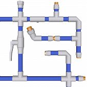 Plumbing System Fittings Water Pipeline Pvc On White Background 3D
