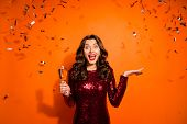 Portrait Of Excited Funky Bachelor Girl Celebrate Hen Prom Party Impressed News Crazy Expression Hol poster