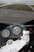 stock photo of speedo  - beautiful closeup of a generic front end of a motorcycle dashboard - JPG