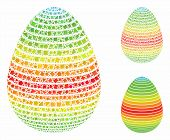 Abstract Egg Spectrum Stripes Composition Of Unequal Pieces In Variable Sizes And Color Tints, Based poster