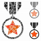 Army Medal Mosaic Of Trembly Items In Variable Sizes And Shades, Based On Army Medal Icon. Vector In poster