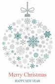 Christmas Bauble Vector With Snowflakes, Silver Hanger And Christmas Greetings On White Background. poster