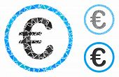 Euro Coin Mosaic Of Unequal Elements In Various Sizes And Shades, Based On Euro Coin Icon. Vector In poster