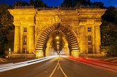 Entrance Buda Castle Tunnel Under Castle Hill In Budapest, Hungary - Long Exposure Photo In Evening  poster