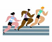 Vector Flat Isolated Illustration With Strong Runners Competing In Marathon. poster