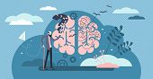 Dementia Health Disorder Flat Tiny Person Concept Vector Illustration. Brain With Stylized Thoughts  poster