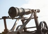 Old Metal Cannon. Ancient Fire-arm Weapon. Ancient Artillery. poster