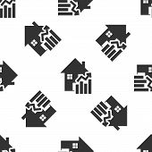 Grey Rising Cost Of Housing Icon Isolated Seamless Pattern On White Background. Rising Price Of Real poster