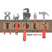 Template For Building Tools Shop Service Banner. Tools For House Repair And Constructing In A Tool B poster