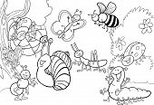 stock photo of caterpillar cartoon  - cartoon illustration of funny insects on the meadow for coloring book - JPG
