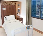 Modern equipped and comfortable empty bed in hospital room