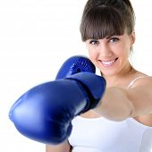 sport young woman boxing gloves, face of fitness girl studio shot over white background