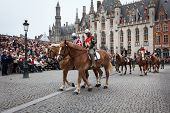 BRUGES, BELGIUM - MAY 17: Annual Procession of the Holy Blood on Ascension Day. Locals perform an hi