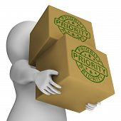 Priority Stamp On Boxes Shows Rush And Urgent Services
