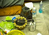 NAKHON CHAI, THAILAND - MAR 1: The tools for traditional Yantra tattooing on Mar 1, 2012 in Nakhon C
