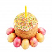 Easter Cake With Sugar Glaze, Painted Eggs And Candle Isolated O
