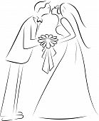 kissing the bride cartoon silhouette vector