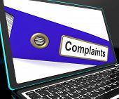 Complaints File On Laptop Shows Complaints
