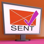 Sent Envelope On Monitor Shows Outgoing Mails