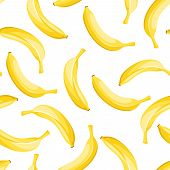 Seamless background with yellow bananas. Vector illustration.