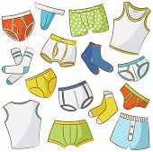 stock photo of string bikini  - Male Underwear Doodle Icon Set Isolated On The White - JPG
