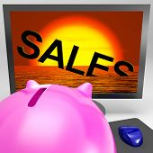 Sales Sinking On Monitor Shows Sales Collapse