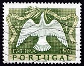Postage Stamp Portugal 1951 Dove, Fatima, Holy Year