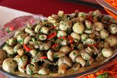 stock photo of sauteed  - Sauteed mushrooms with peppers and herbs - JPG