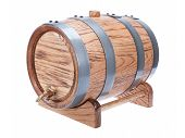 image of stopcock  - vintage oak wine barrel isolated on white background - JPG