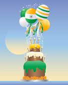 pic of three tier  - an illustration of an india celebration cake with three tiers striped candles and cream frosting in the colors of the national flag with balloons and sparkles on a blue background - JPG