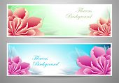 Two flowers banners  red magenta peony