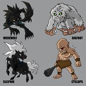 stock photo of bigfoot  - 4 Graphic vector set of mythical creatures - JPG