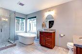 Beautiful Grey New Modern Bathroom Interior.
