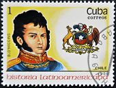 a stamp printed in Cuba shows governor B. O'Higgins chile