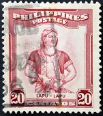 stamp printed shows Lapu-Lapu was the datu of Mactan an island in the Visayas in the Philippines