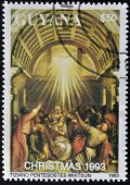 A stamp printed in Guayana shows Pentecost by Tiziano
