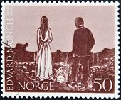 A stamp printed in Norway shows Paintings by Edvard Munch