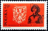 Stamp printed in Poland showing Nicolaus Copernicus