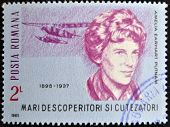 stamp printed in romania shows Amelia Earhart Putnam