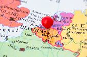Red Pushpin On Map Of Belgium
