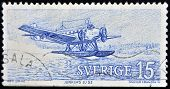 : A stamp printed in Sweden shows seaplane