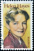A stamp printed in USA shows Helen Hayes