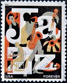 stamp printed in USA dedicated to Jazz
