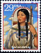 Stamp printed in USA show Sacagawea