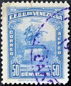 A stamp printed in Venezuela shows statue of Simon Bolivar in Caracas