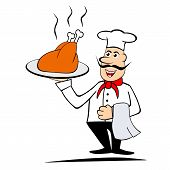 Chef Holding A Roasted Chiken